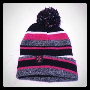 Winter Pom Pom Hat Black Hot Pink Grey & White